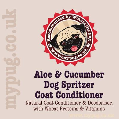 Dog Spritzer is a refreshingly natural coat conditioner and deodoriser, with a subtle hint of Aloe & Cucumber. Each spray will neutralise bad odours and delivers a fine mist of wheat protein + 5 vitamins to rejuvenate and nourish the skin and coat. Suitab